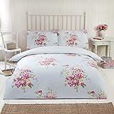 Kate franela de algodón cama individual funda nórdica y funda de almohada azul huevo de pato y flores de color rosa ropa de cama juego de cama, color azul