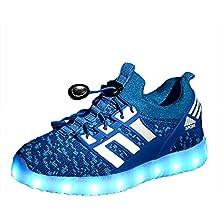 Yeeper LED Zapatillas de 7 Colores de Luces con USB de Carga Transpirables para los Niños y los Adolescentes 1832