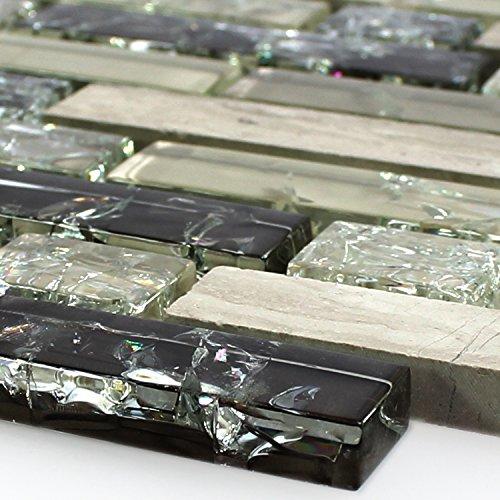 Glas Naturstein Mosaik Fliesen Bricks Bruchglas Grün Grau
