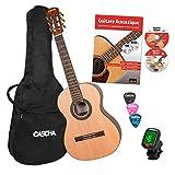 CASCHA Guitare Classique Enfant 3/4, Pack Pour Débutants, incl. Livre, Accordeur, Sac/Housse de Guitare, 3 Médiators, 8-13 ans, Guitare Acoustique pour Enfants avec Cordes en Nylon