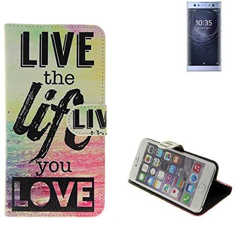K-S-Trade Für Sony Xperia XA2 Ultra Dual-SIM Schutz Hülle 360° Wallet Case ''live Life Love'' Schutzhülle Handy Tasche Handyhülle Etui Smartphone Flip Cover Standfunktion (1x)