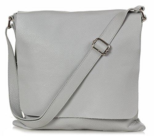 Taschenloft Damen Umhängetasche - Messenger Bag aus genarbten Leder (32 x 32 x 2 cm) Hellgrau