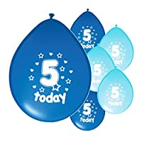 Partyangels 10 x 5TH BIRTHDAY BOY / AGE 5 BOY LIGHT BLUE AND BLUE MIX PACK BIRTHDAY BALLOONS