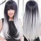 Superwigy® New Arrival Lolita Ombre Gradient Black+Gray Wig Women Long Straight Ombre Hair Anime Full Wigs