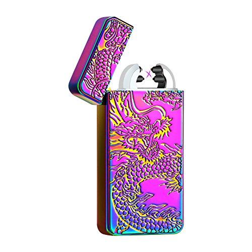 Padgene USB Feuerzeug elektronisch aufladbar Dual Lichtbogen Drache