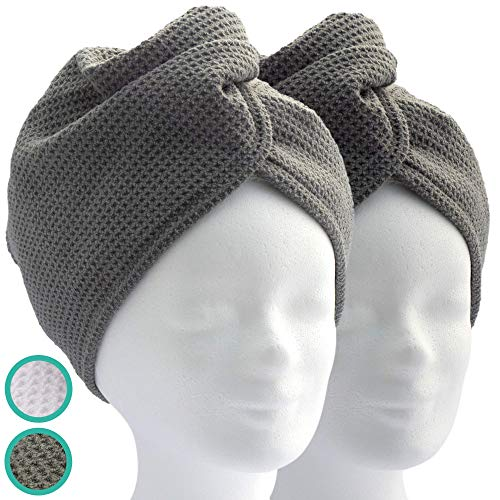 ELEXACARE Haarturban, Kopfhandtuch mit Knopf (2 Stück, anthrazit) Mikrofaser schnell trocknend -