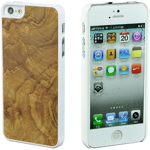 SunSmart Caso de madera natural real de madera de bambú de Apple iPhone 5 Genuine Copia de Caja Cubierta con bordes de plástico resistente (burl de oliva-bordes blancos)