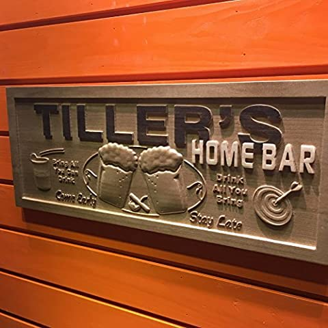 wpa0053 Name Personalized Home Bar Wooden 3D Engraved Sign Custom Gift Craved Bar Beer Home Décor Lake House Plaques Game Room Den Wood Signs