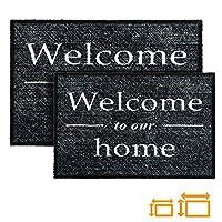 GadHome Welcome Indoor Outdoor Door Mat, Grey 40x60cm | Welcome to Our Home Non-Slip, Absorbent, Dirt Trapper Doormat Rug
