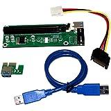 Amazingdeal365 USB 3.0 PCI-E Express Adaptador de tarjeta de expansión de 1x a 16x Cable de alimentación SATA