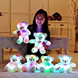 "15"" Super Cute Teddy Bear Little Stuffed Toys, Sparkling Light Up Plush Toy With Colorful Flash LED Light-emitting, Light Toys For Children's Day Present ( Wings Of Love, 38cm) By Elfe Boutique - Toys"