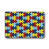 coloré sensibilisation à l'autisme pièces de puzzle en caoutchouc antidérapant Porte Tapis de sol Paillasson 59,9x 39,9cm
