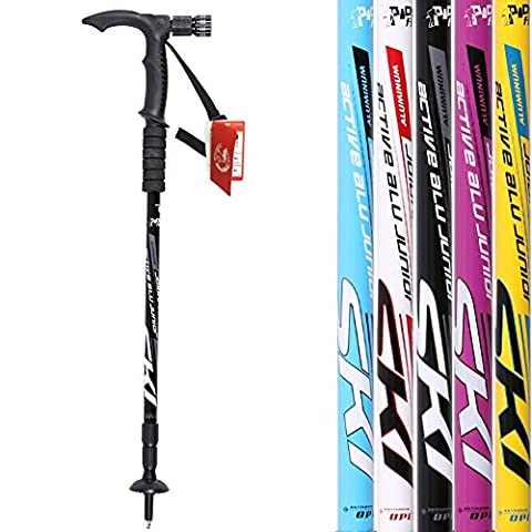 Lanyou Multi-Functional Hiking Pole with LED Light, Compass & Ferrule Led Durable Hiking Trekking AntiShock Walking Stick Pole Retractable Adjustable Compass For Hiking Climbing Outdoor Sports (Black 1Pair)