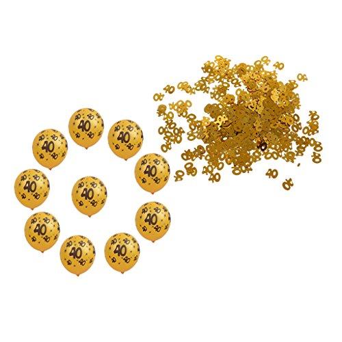 MagiDeal Gold Zahlenkonfetti Konfetti Streuartikel + 10pcs Latexballons mit Nummer 40 für 40. Geburtstag Jubiläum Party Dekor