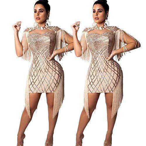 Yhjklm Elegant Womens Rundhals Flügelärmel Ausschnitt Pailletten Fransen Quasten Kleid Bodycon Stretchy Mini Party Kleid Cocktail Abend Clubwear Kleid gemütlich (Farbe : Nude, Größe : ()