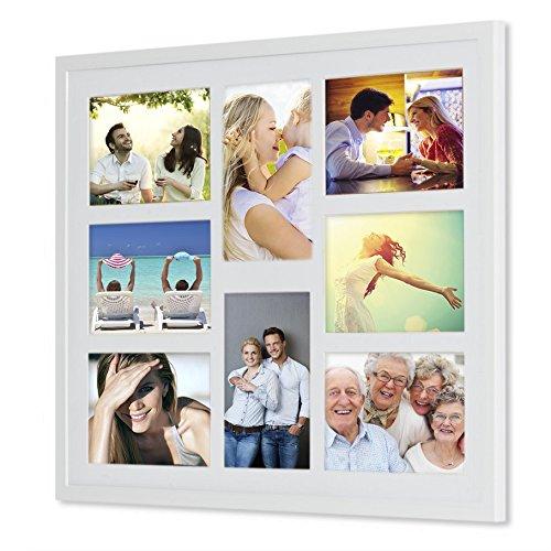 Preisvergleich Produktbild Holz - G81 Rahmen für Bilder 10x15 13x18 mit weißem Passepartout Rahmen zum Aufhängen Farbe Grau-silber - Format 13x18