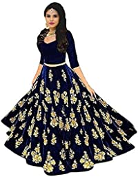 6c52c0777 BRIDAL4Fashion Women s Embroidered Velvet Semi Stitched Lehenga Choli (Free  Size)