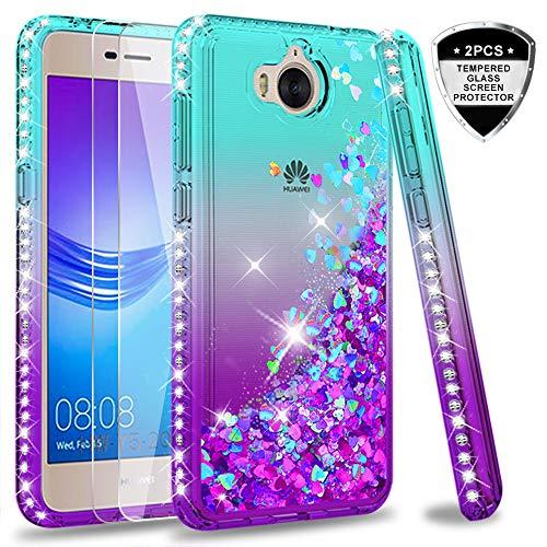 LeYi Hülle Huawei Y6 2017/Y5 2017/Y5 II 2017/Y5 Pro Glitzer Handyhülle mit Panzerglas Schutzfolie(2 Stück),Cover Diamond Bumper Schutzhülle für Case Handy Hüllen ZX Gradient Turquoise Purple