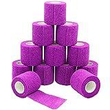 12 Rollos 5cm x 4.5 m Impermeable Auto-Adhesivo Vendaje Elástico Wrap Terapia Muscular Articulaciones de los Dedos para el Cuidado Del Vendaje - Purple