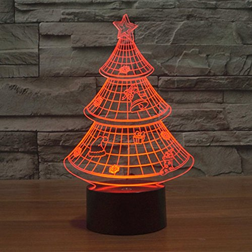 Lampe 3D ILLUSION Lichter der Nacht, kingcoo 7Farben LED Acryl Licht 3D Creative Berührungsschalter Stereo Visual Atmosphäre Schreibtischlampe Tisch-, Geschenk für Weihnachten, Kunststoff, Arbre de Noël 0.50 wattsW - 4