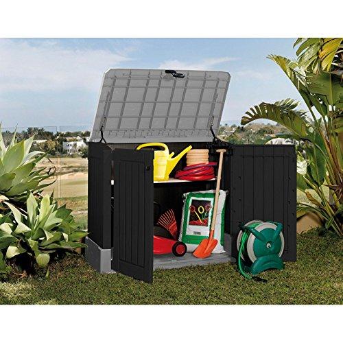 *Koll Living Mülltonnenbox/Aufbewahrungsbox mit 250 L Fassungsvermögen – 130 x 74 x 110 cm – Gartengeräte regensicher verstauen oder Mülltonnen unauffällig unterbingen – abschließbar*
