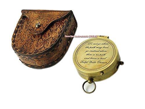Ralph Waldo Emerson Zitat massivem Messing Kompass mit Anker geprägtes Leder Fall