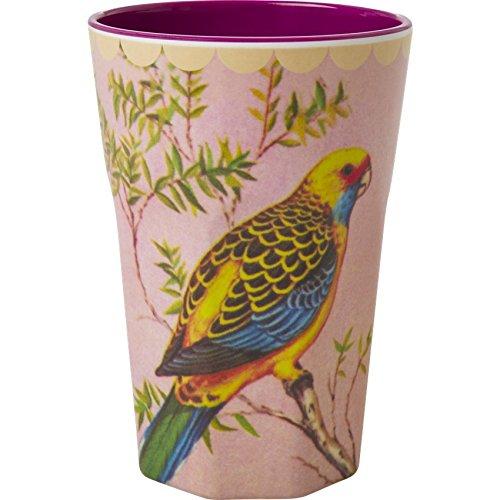 Riz Latte Tasse en mélamine deux tons Imprimé Vintage avec perruche et un chaud Violet Intérieur Col par Rice DK