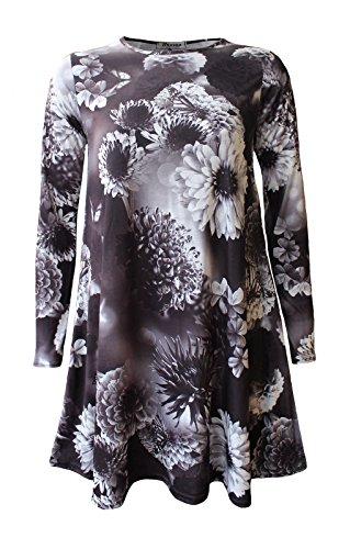 Generic Damen Skater Kleid Shadow Floral