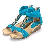 Alexis Leroy Summer Women Agate T-bar Wedge Heel Back Zip Sandals