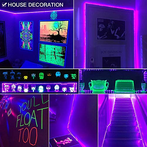JoyGood wasserdichter UV Schwarzlicht LED Streifen 5 Meter mit 300 Stück 3528 UV-SMD, 12V Netzteil und IP65 Zertifizierung. Lichterkette / Lichtstreifen - 4