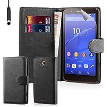 32nd® Funda Flip Carcasa de Piel Tipo Billetera para Sony Xperia E4 con Tapa y Cierre Magnético y Tarjetero - Negro