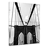 Bilderdepot24 Kunstdruck - New York Bridge I - Bild auf Leinwand - 50 x 60 cm - Leinwandbilder - Bilder als Leinwanddruck - Wandbild Städte & Kulturen - Amerika - Brooklyn Bridge in schwarz weiß