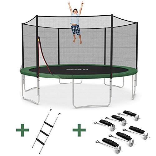 Ampel 24 Outdoor Trampolin Ø 430 cm grün mit verstärktem Netz | Gartentrampolin mit Leiter & Windsicherung | Sicherheitsnetz 6 gepolsterte Stangen | Belastbarkeit 160 kg | Gratis Expander