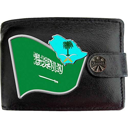 Saudi-Arabien Arabisch Flagge Karte Wappen Bild auf KLASSEK Marken Herren Geldbörse Portemonnaie Echtes Leder RFID Schutz mit Münzfach Zubehör Geschenk mit Metall Box