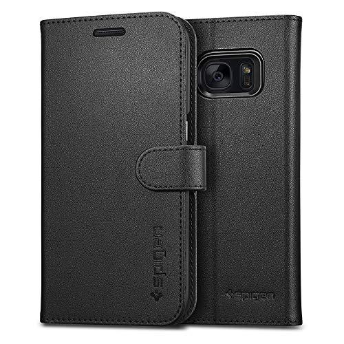 Spigen® Wallet S Samsung Galaxy S7 Hülle Kartenfach Integrierter Aufstell Funktion Leder Schutzhülle für Samsung Galaxy S7 Case Black (555CS20027)