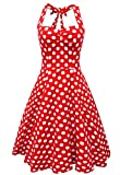 Anni Coco® Women's Sexy Halter Neck Polka Dot Dress 1950s Vintage Dress Rockabilly Cocktail Swing Dresses Medium Red Polka Dot