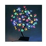 90er LED Baum 60cm Hoch Kirschbaum Lichterbaum Baum Weihnachten Innen (Bunt)