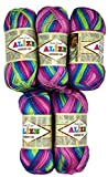 Alize Bamboo fine 5 x 100 Gramm Bambuswolle Mehrfarbig mit Farbverlauf, 500 Gramm 100% Bambus Strickwolle (pink rosa grün u.a. 3260)