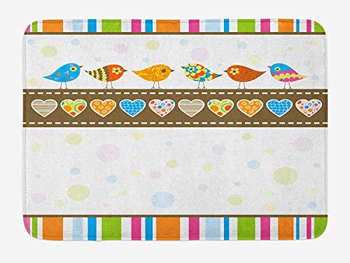 Klotr Fußabtreter, Valentines Day Bath Mat, Cute Chubby Birds with Colored Hearts and Stripes Abstract Dots Love Image, Plush Bathroom Decor Mat with Non Slip Backing, 23.6 X 15.7 Inches