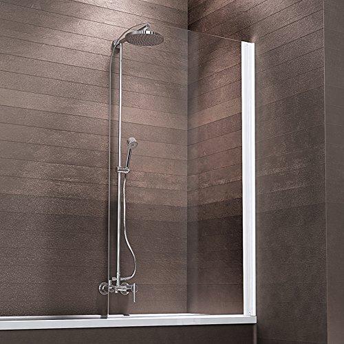 Schulte Duschabtrennung Badewanne zum Kleben Glas 1 teilig 140x81 cm Berlin, 1 Stück, Alpinweiß