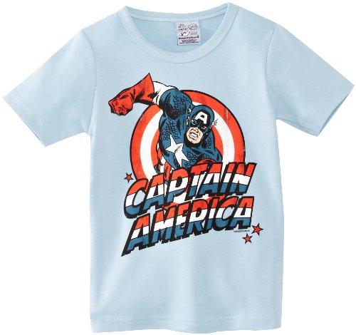 Marvel Comics - Captain America T-Shirt Kinder Jungen - hellblau - Lizenziertes Originaldesign - LOGOSHIRT, Größe 104/116, 4-6 (Mädchen Leichte Kostüme Superhelden)
