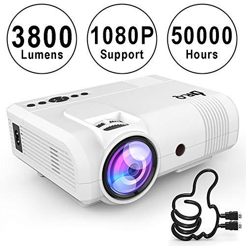 Proyector DR.Q, Mini Proyector Lumen 3800, Proyector de Video Soporta 1080P HD, Incremento de 90{c7c84535c7660b003d975b361be1ce34a563ee2532b905001cb219c475a0529b} en Salida de Luz de Colores y Tiempo de Vida de la Lámpara, Soporta Dispositivos HDMI USB TF, Blanco.