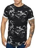 Cabin Oversize Army Camouflage Herren Vintage Rundhals T-Shirt Schwarz XL