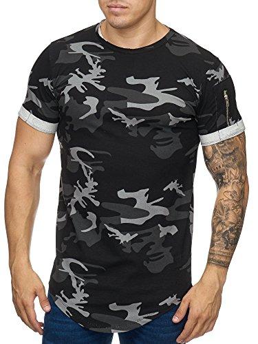 Cabin Oversize Army Camouflage Herren Vintage Rundhals T-Shirt Schwarz L - Vintage Cabin
