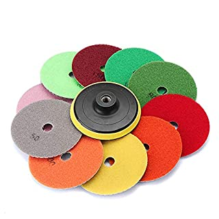 Asdomo 11pcs 4 Inch 50-3000 Grit Wet/Dry Diamond Polishing Pad Granite Marble Concrete Stone Kit