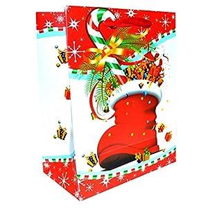 Gifts 4 All Occasions Limited SHATCHI-682 - Juego de 6 bolsas de papel con diseño navideño (tamaño pequeño), color rojo
