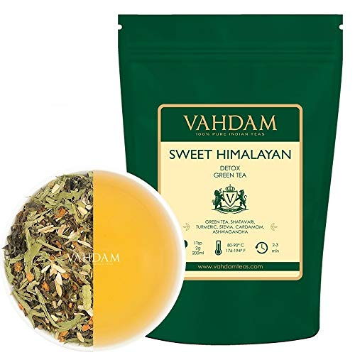 VAHDAM, Sweet Himalayan Detox Green Tea, (100 Cups) 200g | 100% Natural Detox Tea | Loose Leaf Green Tea Leaves blended with Stevia, Turmeric, Shatavari, Cardamom & Ashwagandha | Loose Green Tea