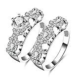 AmDxD Doppelring Set Versilbert Damenring Hohl Bogen Diamant Form Zirkonia Ehering Silber Größe 60