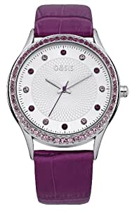 OASIS Women's Quartz Watch with Silver Dial Analogue Display and Purple Leather Strap B1364