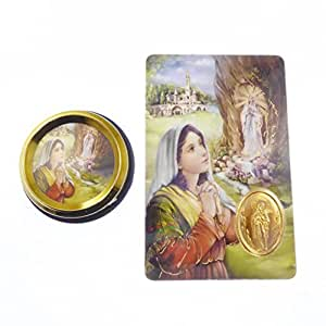 Plaque Voiture Catholique Notre Dame de Lourdes Cadeau Magnétique Adhésif Or + Carte de Prière